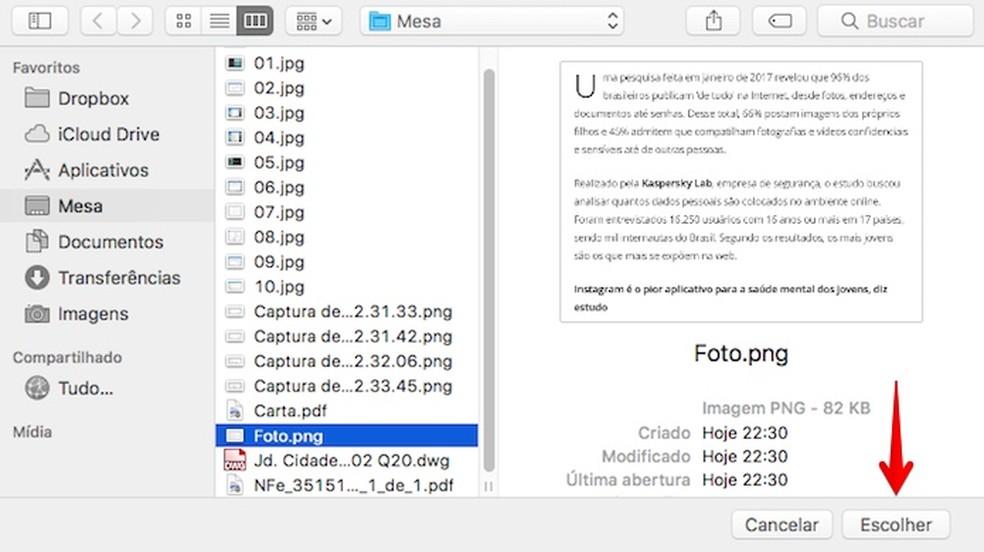 Localize o arquivo PDF ou foto (Foto: Reprodução/Helito Bijora)