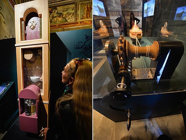 Relógio d'água e parafuso infinito projetados pelo grego Arquimedes (Foto: Andreas Solaro/AFP)