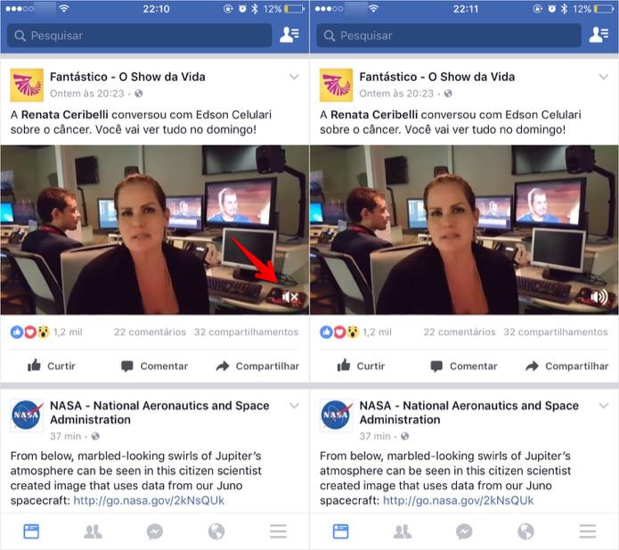 Ativando o som de um vídeo no Facebook (Foto: Reprodução/Helito Bijora)