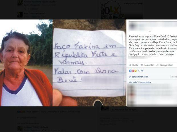 'Cartões' distribuidos pela faxineira foram publicados na rede social (Foto: Reprodução/Facebook)
