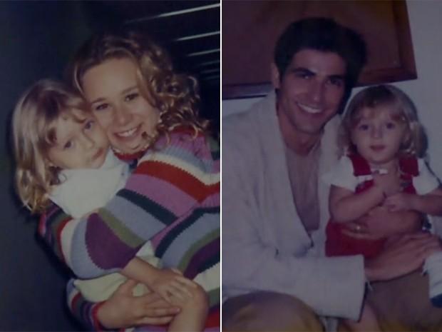 À esquerda, Júlia ganha abraço de Mariana Ximenes e, à direita, com Reynaldo Gianecchini (Foto: Arquivo pessoal)