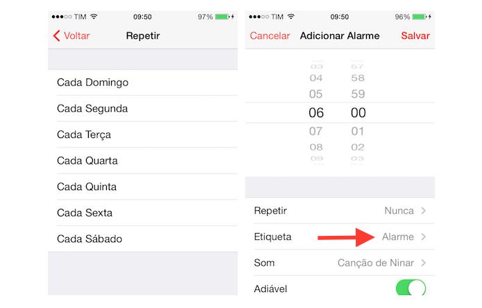 Definindo a repetição do alarme no despertador do iPhone e acessando as configurações de etiqueta (Foto: Reprodução/Marvin Costa)