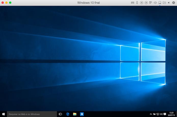 Windows 10 rodando em uma máquina virtual do Parallels, no Mac (Foto: Reprodução/Helito Bijora)
