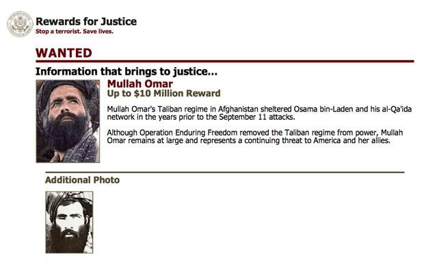 Imagem do FBI mostra fotos do mulá Omar, líder do Talibã e aliado de Osama Bin Laden (Foto: FBI/AP)