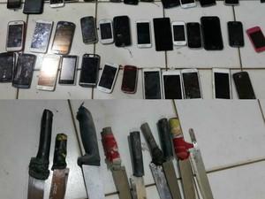 Celularese facas foram apreendidos durante revista no Presídio Francisco d'Oliveira Conde (Foto: Arquivo pessoal)