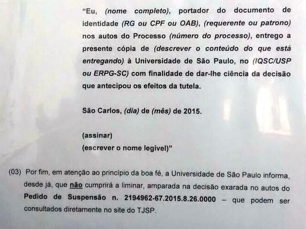 Comunicado colocado na Procuradoria da USP em São Carlos (Foto: Reprodução)