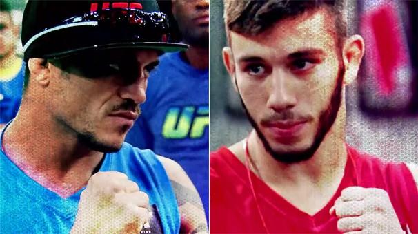 Matheus Nicolau (Time Shogun) e Reginaldo Vieira (Time Anderson) se enfrentam na disputa na categoria peso-galo (Foto: Reprodução)