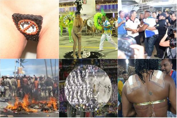 Deu ruim no carnaval 2016: musa faz protesto político, segurança de escola moder policia, ambulantes reclamam da venda de cerveja, rainha de bateria cai na avenida e musas se machucam após desfile (Foto: Divulgação)