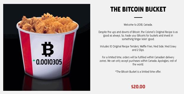 Promoção bitcoin bucket, do KFC (Foto: Reprodução)