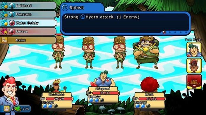 Combates recaem na velha fórmula dos combates em turnos, mas as habilidades dos personagens são criativas (Foto: Divulgação)