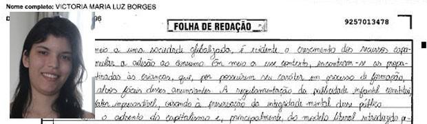 Trecho de redação de Victoria Maria Luz Borges, do Piauí. (Foto: Reprodução/Divulgação)