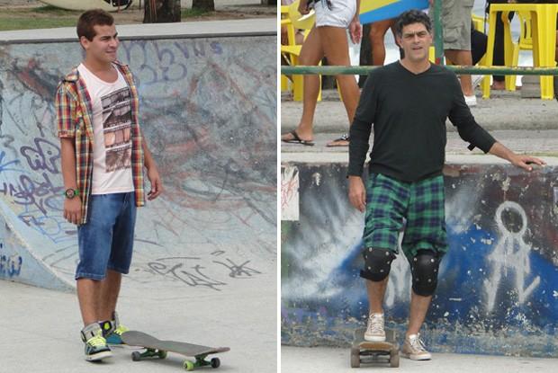 Thiago Martins anda de skate com Du Moscovis (Foto: Louco por Elas / TV Globo)