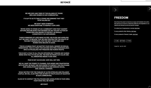 Carta aberta de Beyoncé contra o assassinato e violência policial contra negros nos EUA foi publicada no site oficial da cantora (Foto: Reprodução/Site oficial)