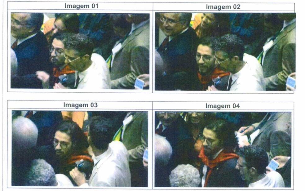 Trecho de laudo da perícia da Polícia Civil sobre vídeo após cuspe de Jean Wyllys (PSOL-RJ) em Jair Bolsonaro (PSC-RJ); imagens foram analisadas pela Polícia Civil do Distrito Federal (Foto: Reprodução)