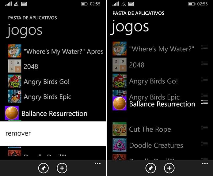 Organize seus apps dentro da pasta como quiser antes de adicioná-la à tela inicial do Windows Phone (Foto: Reprodução/Elson de Souza)