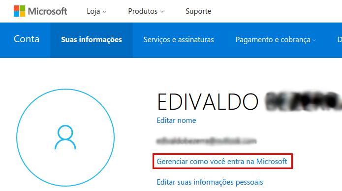 Acessando a opção Gerenciar como você entra na Microsoft (Foto: Reprodução/Edivaldo Brito)