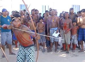 Jovens da etnia Krahô se destacam em modalidades tradicionais (Foto: Reprodução/TV Anhanguera)