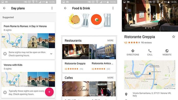 Google Trips tem sugestões de agenda diária e de restaurantes no local (Foto: Reprodução/Barbara Mannara)