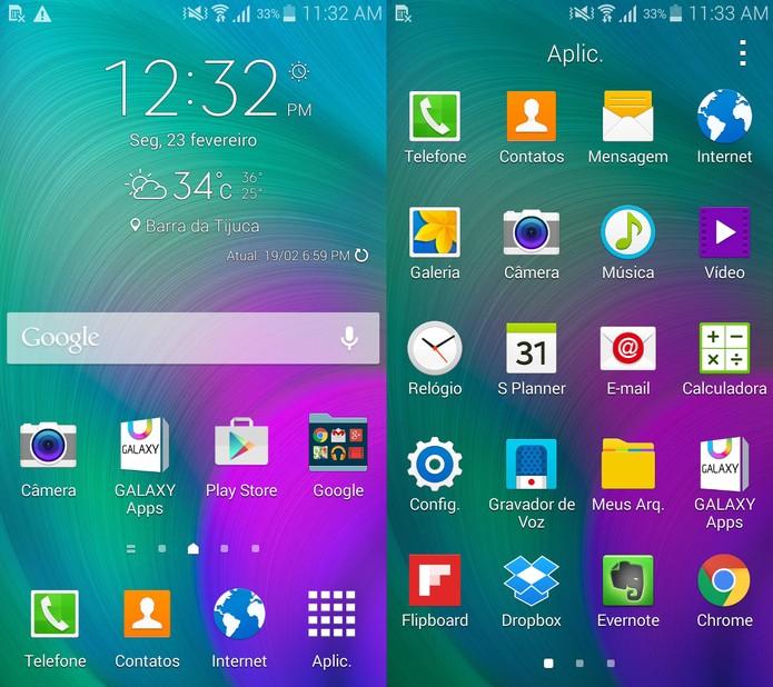Galaxy A5 roda o Android KitKat com a personalização TouchWiz, da Samsung (Foto: Reprodução)