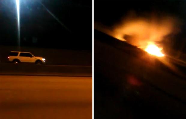 Motorista flagrou momento em que caminhonete que andava na contramão bateu em outro veículo e explodiu em Tampa, na Flórida (EUA) (Foto: Reprodução/Facebook/Jada Wright)