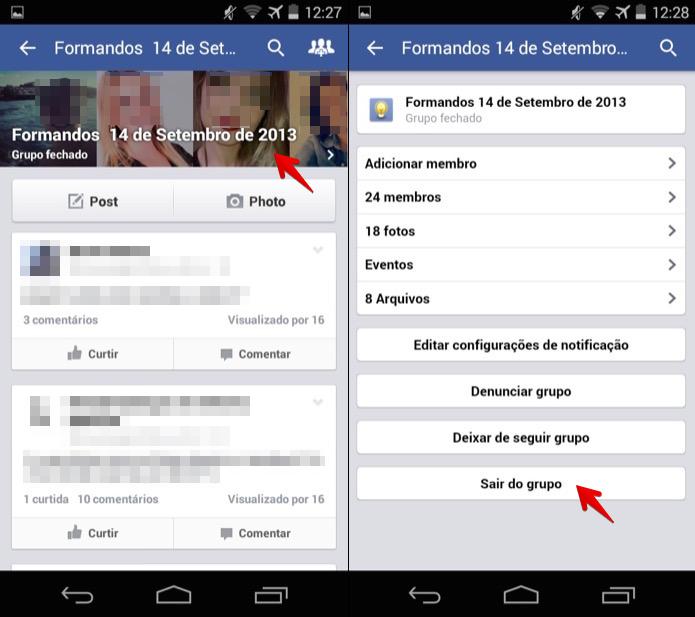 Saindo de um grupo do Facebook pelo celular (Foto: Reprodução/Helito Bijora)