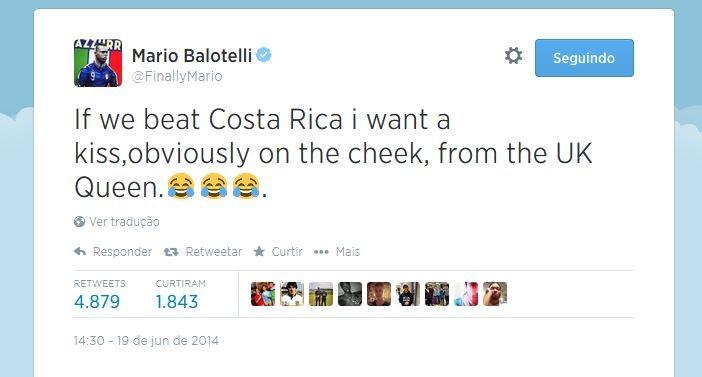 Balotelli brinca com a Rainha da Inglaterra em seu twitter