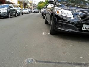 Estacionamento inteligente em Águas de São Pedro (Foto: Alessandro Meirelles/G1)