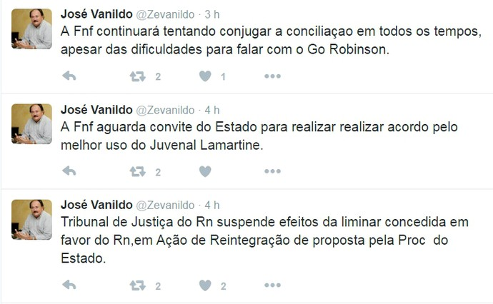 RN - FNF José Vanildo (Foto: Reprodução/Twitter)