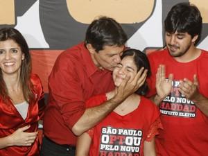 Fernando Haddad (PT) e sua família (Foto: Vagner Campos/G1)