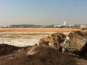 Obras do novo terminal já começaram em Cumbica (Foto: Nathália Duarte/G1)