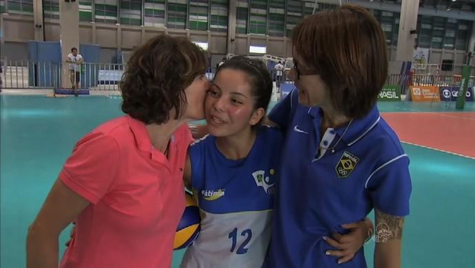 Shelda, Adriana Behar, vôlei de praia, vôlei, Jogos Escolares (Foto: Reprodução/TV Verdes Mares)