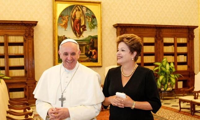 Papa Francisco e Dilma Rousseff (Foto: Divulgação)
