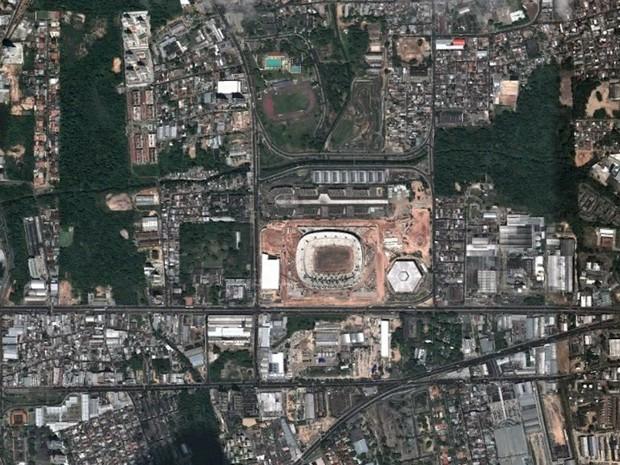 Arena Amazônia, em Manaus, em foto feita em 6 de agosto de 2013 (Foto: Base Aerofotogrametria)