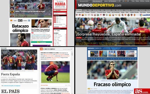 Montagem sobre a espanha em diversos jornais (Foto: Editoria de arte / Globoesporte.com)
