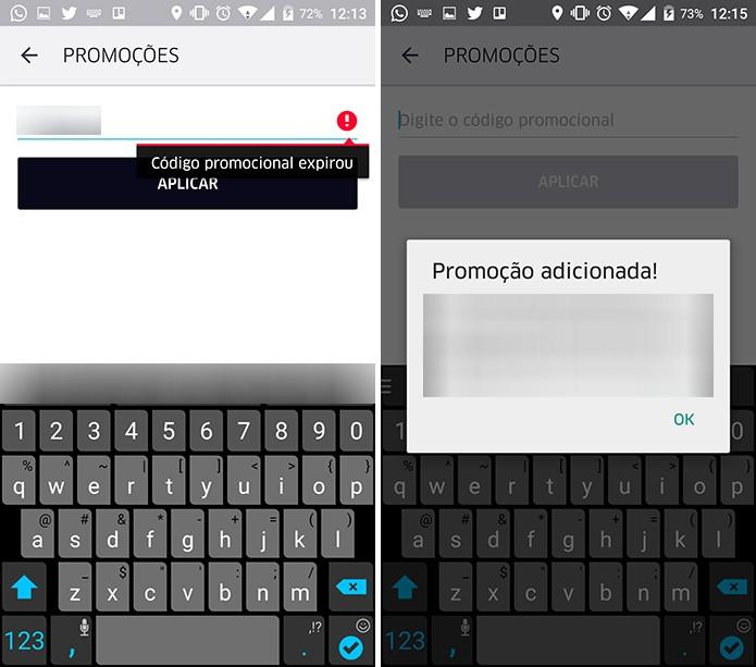Uber exibirá se código foi aceito ou não pelo aplicativo e usuário poderá usar desconto (Foto: Reprodução/Elson de Souza)