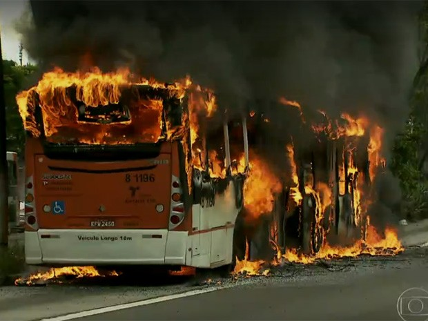 Fogo destruiu o ônibus completamente (Foto: TV Globo/Reprodução)