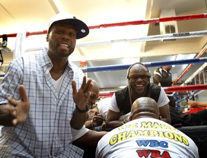 50 Cent no treino de Floyd Mayweather em Las Vegas (Foto: Reuters)