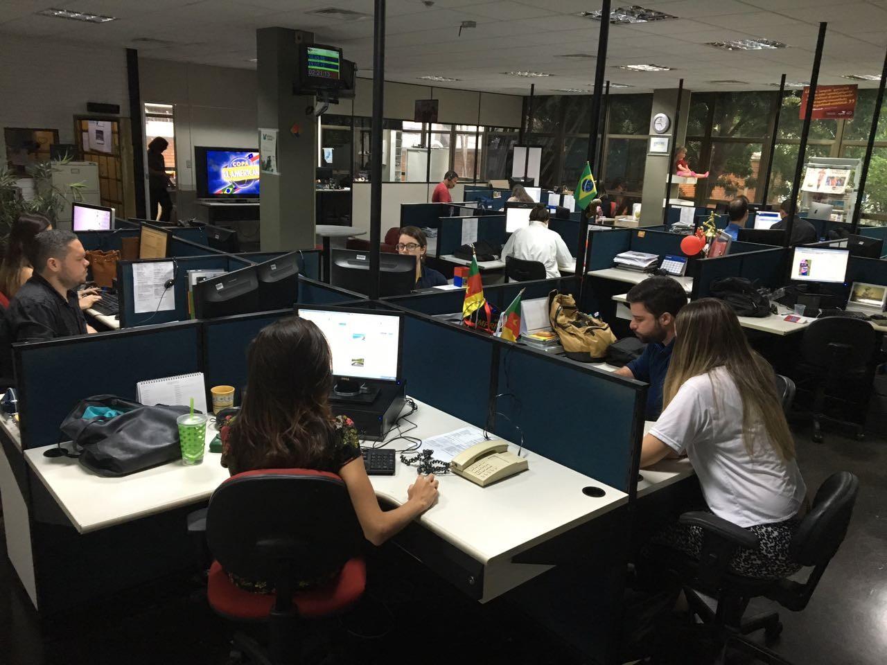 Redação da TV Gazeta (Foto: Bruna Borjaille)