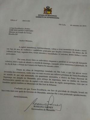 Ofício encaminhado ao Ministério da Justiça pelo governo do Maranhão (Foto: Lenno Edroaldo/G1)
