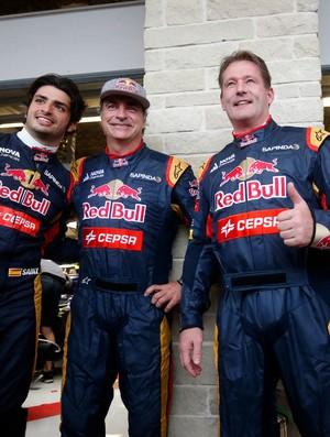 Pais de Carlos Sainz Jr. e Max Verstappen, Carlos Sainz e Jos Verstappen entraram nos carros dos filhos