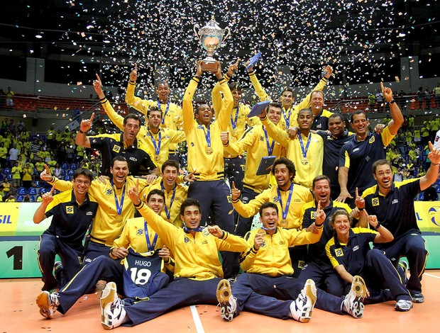 vôlei Brasil Sérvia Mundial sub 23 festa titulo (Foto: Alexandre Arruda / CBV)