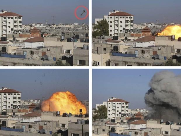 Detaque feito pelo G1 em sequência de fotos mostra míssil israelense logo antes de atingir a casa do líder da Jihad Islâmica Nafez Azzam em Rafah, no sul da Faixa de Gaza (Foto: Ibraheem Abu Mustafa/Reuters)