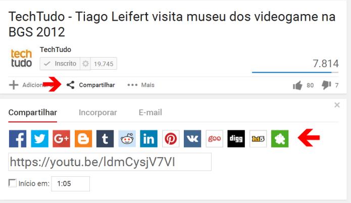 Compartilhando um vídeo do YouTube nas redes sociais (Foto: Reprodução/Lívia Dâmaso)