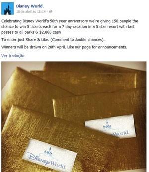 A falsa promoção promete viagem à Disney e mais US$ 2 mil em dinheiro (Foto: Reprodução/Facebook)