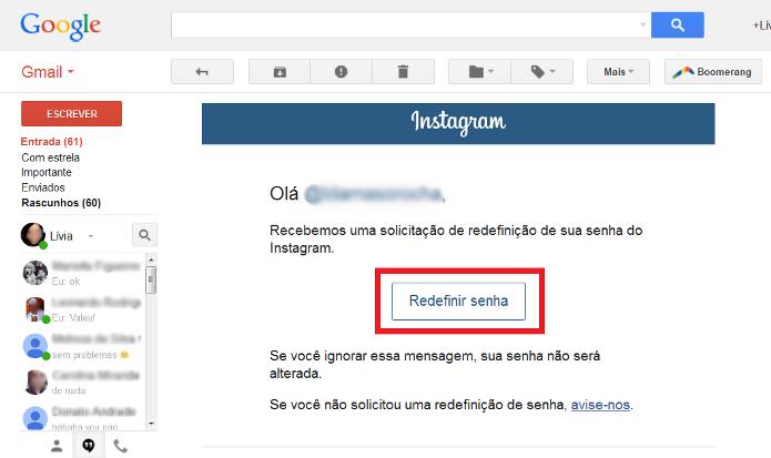 Link para redefinir senha do Instagram (Foto: Reprodução/Lívia Dâmaso)