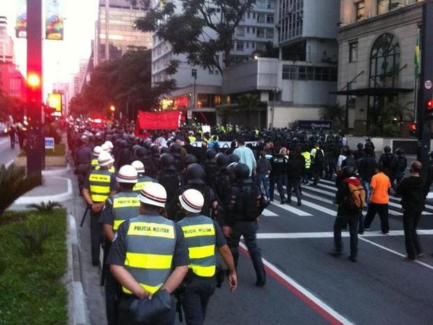 SP copa protesto Paulista (Foto: Gustavo Petró/G1)