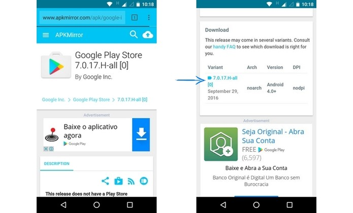 Página de versão do APK da Google Play Store (Foto: Reprodução/ Raquel Freire) (Foto: Página de versão do APK da Google Play Store (Foto: Reprodução/ Raquel Freire))