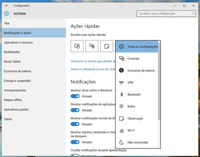 Defina quais ícones você quer ter no acesso rápido (Foto: Reprodução/Thiago Barros)