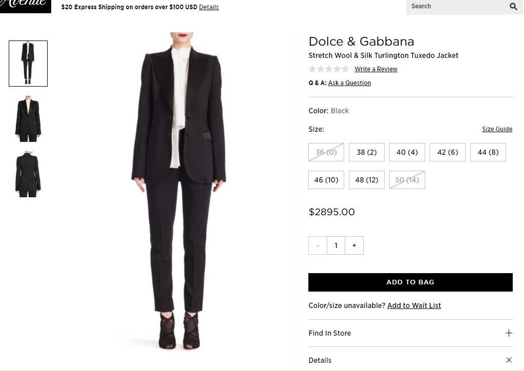 Blazer escolhido por Melania Trump em site de venda internacional (Foto: Reprodução/Saks Fifth Avenue)