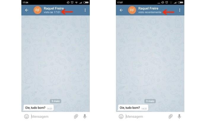 Telas antes e depois de esconder status visto por último no Telegram (Foto: Reprodução/Raquel Freire)